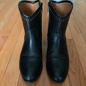 Frye Melissa short black leather boots